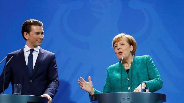 News video: Sebastian Kurz trifft Angela Merkel