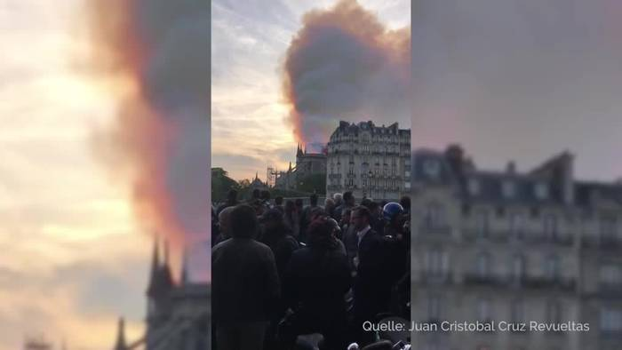 News video: Pariser Kathedrale Notre-Dame steht in Flammen