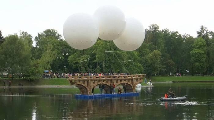 News video: Federleicht: Fliegende Brücke in Moskau