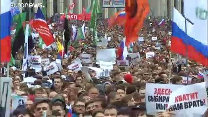 Video: Größte Demo in Russland seit Jahren: 275 Festnahmen