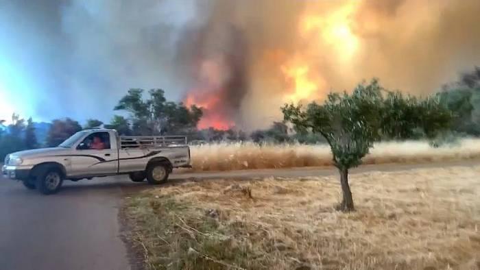 Video: Starke Brände auf Euböa