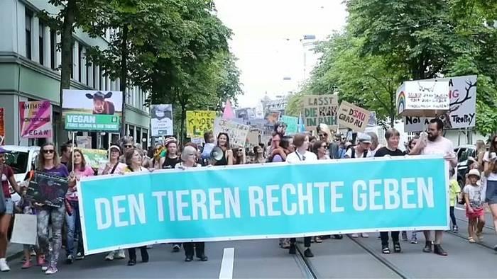 News video: Zürich: Veganer demonstrieren für Tierrechte