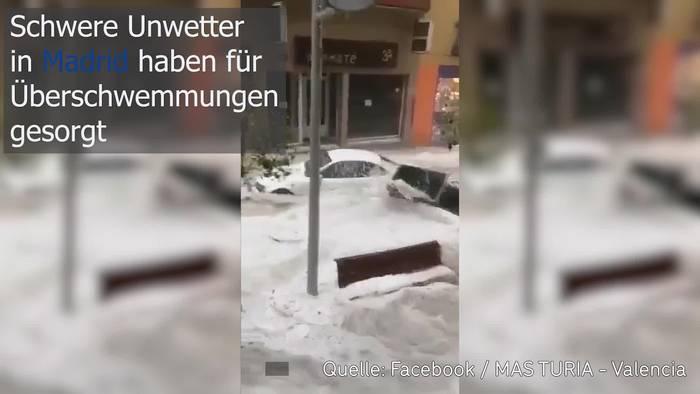 Video: Schweres Unwetter! Überschwemmungen in Madrid!