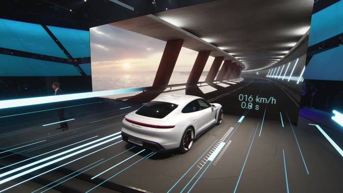 News video: Porsche präsentiert auf der IAA in Frankfurt den neuen Taycan