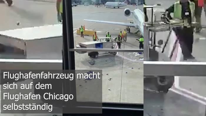 Video: Airport Crash! Flughafenfahrzeug macht sich in Chicago selbstständig