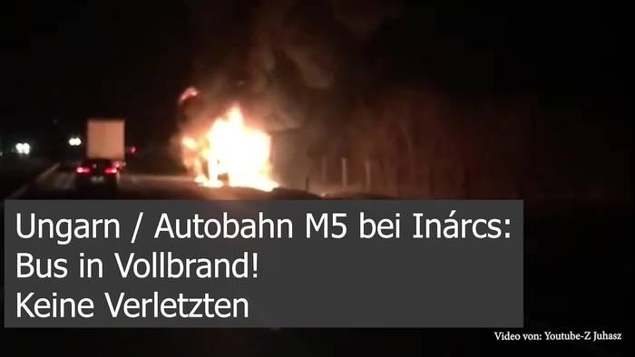 News video: Auf Budapester Autobahn steht Bus in Vollbrand!