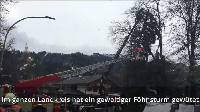 Video: Heftige Schäden nach Föhnsturm in Garmisch-Partenkirchen