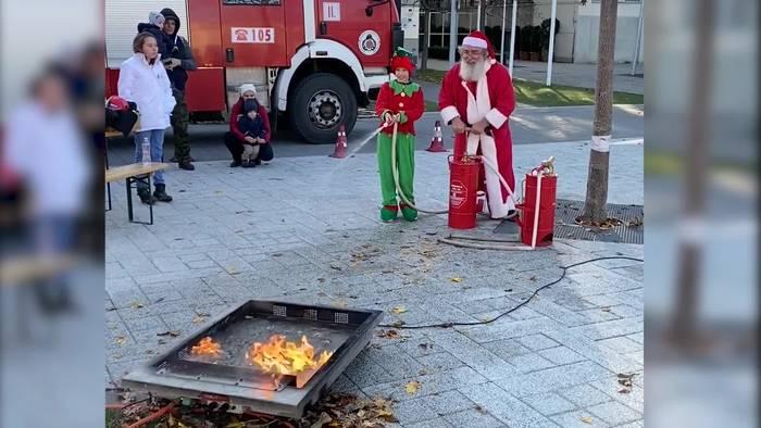 Video: Nikolaus löscht Feuer
