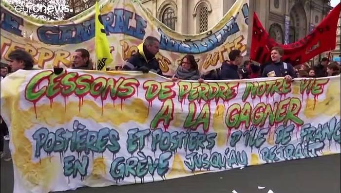 News video: Neue Massendemonstrationen gegen Rentenreform - 6. Tag des Bahnstreiks