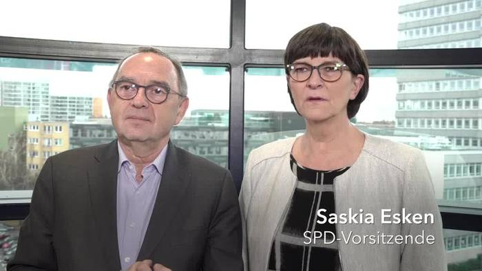 Video: Esken und Walter-Borjans: Große Koalition in keiner Krise