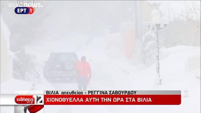 News video: Neue Kaltfront erwischt Teile Griechenlands - Fährverkehr eingestellt