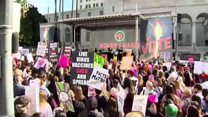 News video: Millionen beim Frauenmarsch in den USA