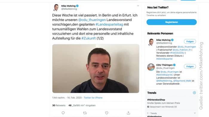 News video: Mohring zieht sich von CDU-Landesvorsitz zurück