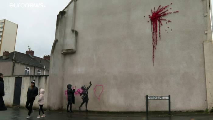 News video: Banksy-Werk beschmiert