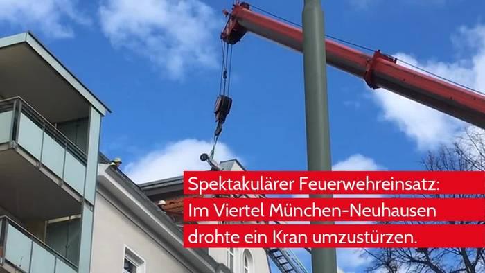 News video: Feuerwehr verhindert Unfall mit Kran in München