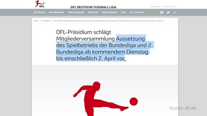 News video: Fußball-Bundesliga will Spielbetrieb unterbrechen