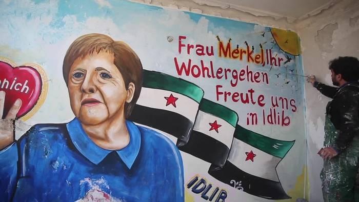 News video: Nach Merkels Corona-Test: Syrer bedanken sich mit Graffiti
