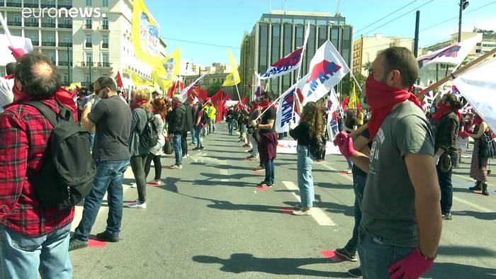 Video: 1. Mai in Athen: