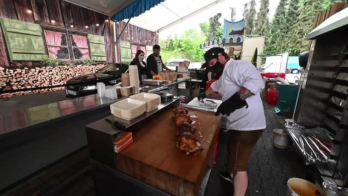 Video: Landshut: Drive-In-Volksfest lockt Besucher an