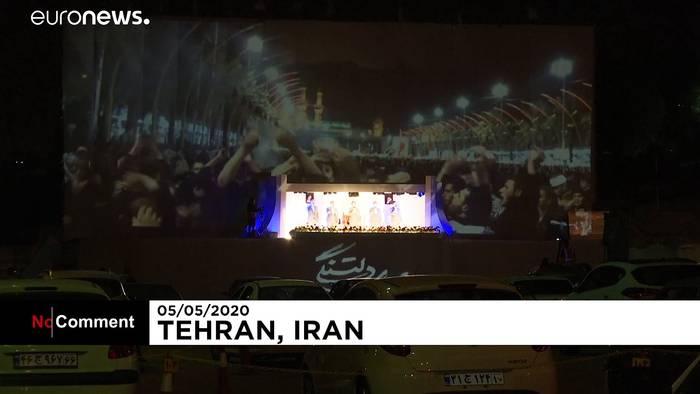 News video: Iran: Nach dem Fastenbrechen in die Drive-In-Moschee