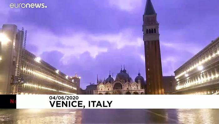 News video: Wieder Flut in Venedig: ungewohnt hoher Wasserstand im Juni