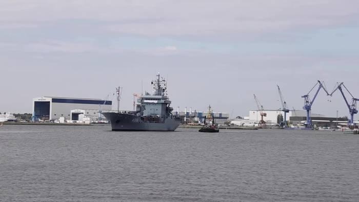 News video: Mit Überraschung: Tender «Donau» in Rostock eingetroffen