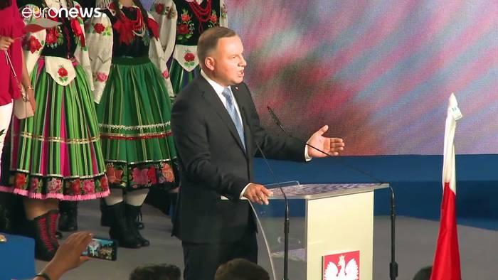 News video: Bei der Präsidentenwahl in Polen muss Amtsinhaber Duda in die Stichwahl gegen Trzaskowski
