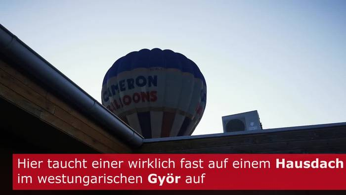 News video: Spektakulärer Blick: Heissluftballon auf Hausdach?