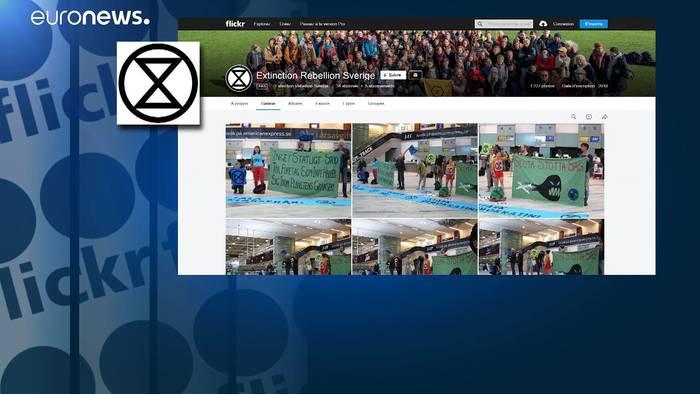 Video: Klimaprotest in Schweden: Aktivistin klebt sich von außen an ein Flugzeug