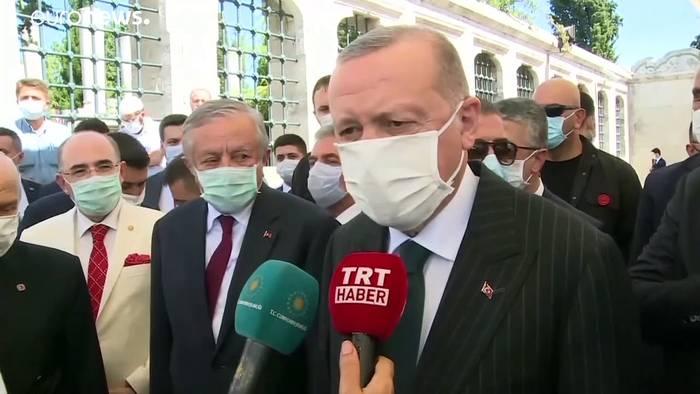 """News video: Erdoğan: """"Hagia Sophia ist zu ihrem Ursprung zurückgekehrt"""""""