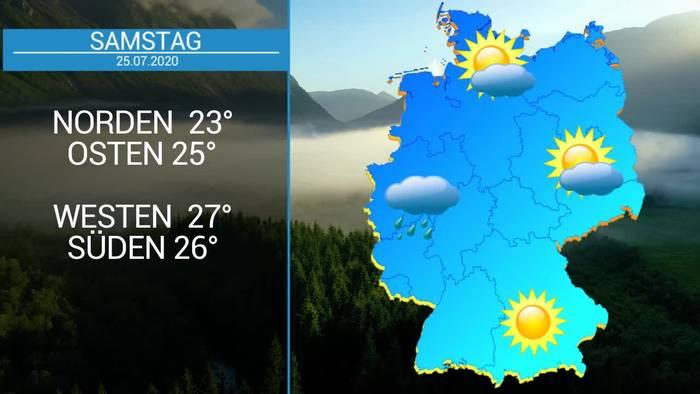 Video: Deutschland-Wetter: 29 Grad am Samstag, Gewitter im Westen. Sonntag - Sturmböen in den Alpen
