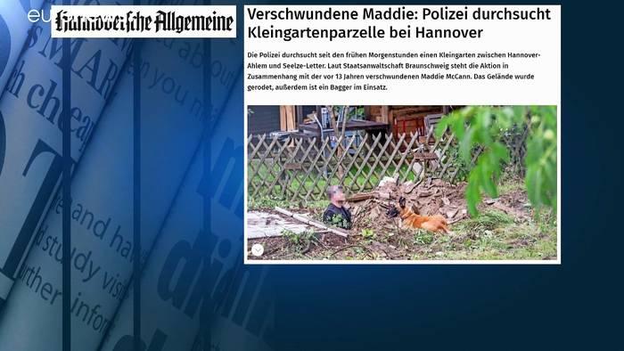 News video: Fall Maddie McCann: Polizei gräbt in Kleingarten bei Hannover