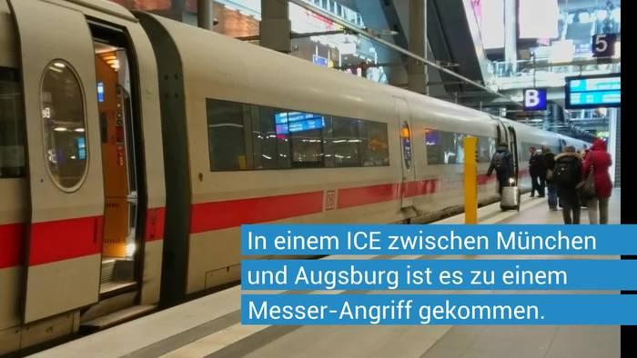 Video: Messer-Angriff in ICE zwischen München und Augsburg: Täter weiter flüchtig - Motiv noch nicht bekannt