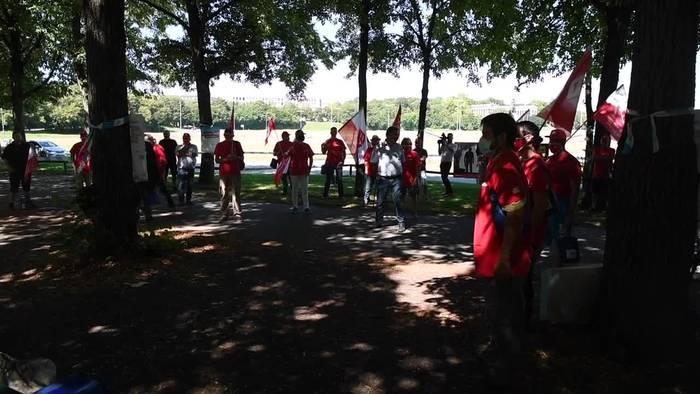 News video: Bauarbeiter wollen mehr Geld: Protestaktionen