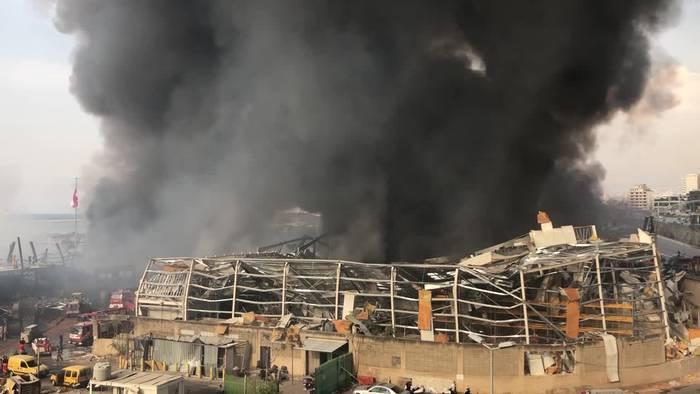 News video: Wieder Großfeuer im Hafen von Beirut