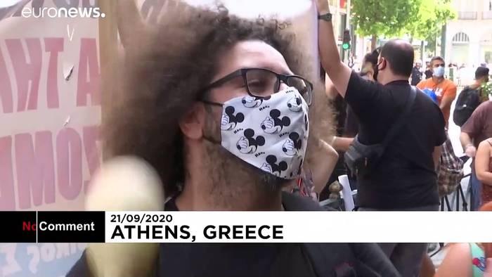 News video: Athen: Künstler-Demo gegen schärfere Corona-Bestimmungen