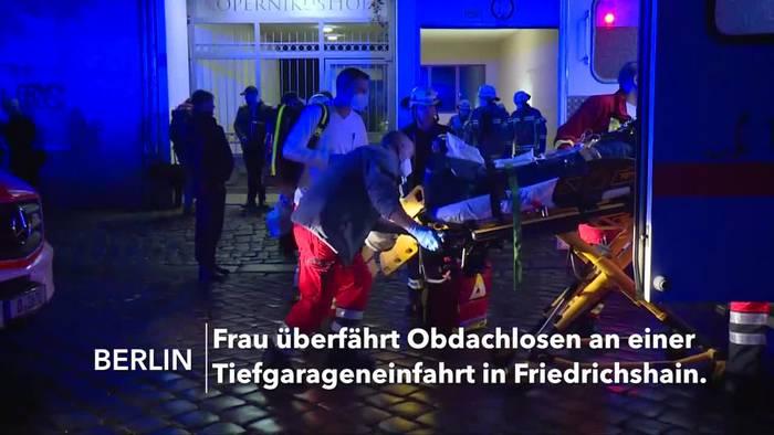 News video: Berlin: Obdachloser an Tiefgarageneinfahrt überrollt