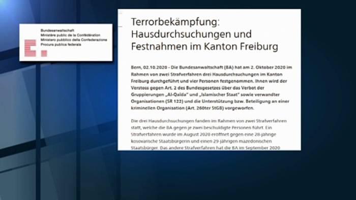 Video: Terrorverdacht: Vier Personen im Kanton Freiburg festgenommen