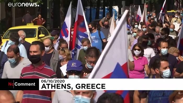 News video: No-Comment-Video: Anti-NATO-Proteste in Athen
