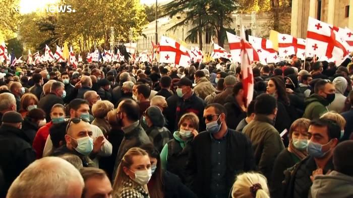 News video: Georgien: Opposition protestiert gegen angeblichen Wahlbetrug