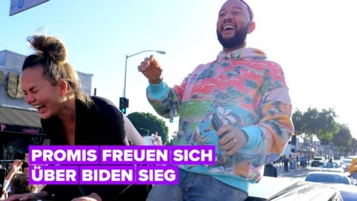 Video: Chrissy Teigen, Gaga, Lebron James & weitere Prominente reagieren auf Biden-Sieg