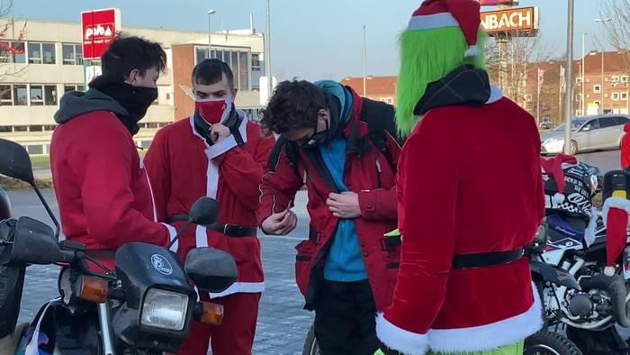 News video: X-Mas Ride in Kiel: Biker verkleiden sich als Weihnachtsmann