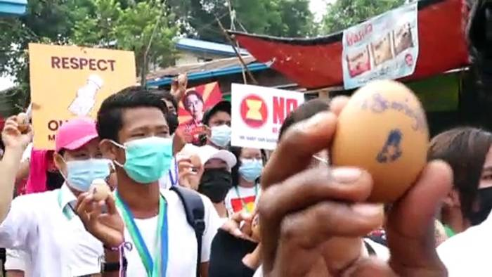 News video: Ostereier-Protest in Myanmar