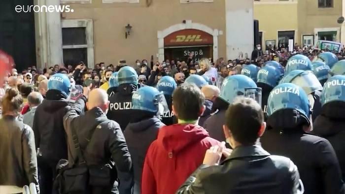 News video: Heftige Auseinandersetzungen bei Anti-Corona-Protesten in Rom