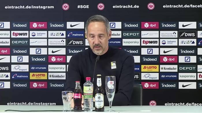 News video: Eintracht-Coach Adi Hütter blockt vor Topspiel gegen Wolfsburg alle Nachfragen zu seiner Zukunft ab