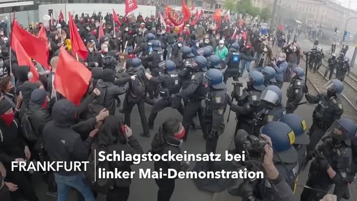 News video: Schlagstockeinsatz bei linker Mai-Demo in Frankfurt