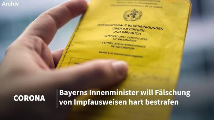 News video: Bayerns Innenminister: Harte Strafen für Impfpass-Fälscher