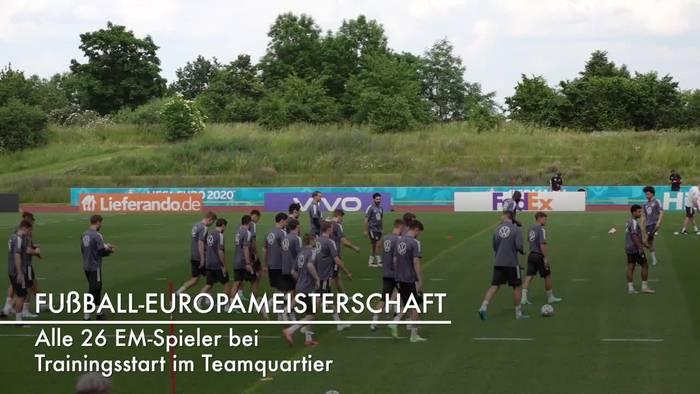 News video: DFB: Alle 26 EM-Spieler bei Trainingsstart im Teamquartier
