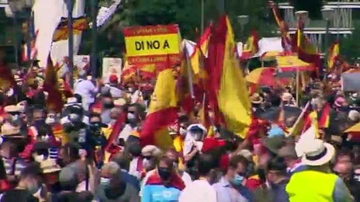 News video: Proteste in Madrid gegen Begnadigung katalanischer Separatisten