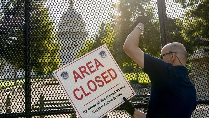 Video: Gefahr gebannt? Innerer Zaun rund um US-Kapitol wird abgebaut